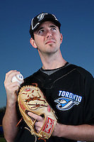 March 1, 2010:  Pitcher Dirk Hayhurst (58) of the Toronto Blue Jays poses for a photo during media day at Englebert Complex in Dunedin, FL.  Photo By Mike Janes/Four Seam Images