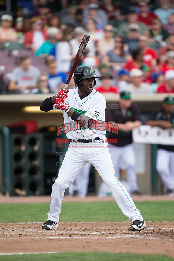 Michael Beltre (34) of the Dayton Dragons at bat against the West Michigan Whitecaps at Fifth Third Field on May 29, 2017 in Dayton, Ohio.  The Dragons defeated the Whitecaps 4-2.  (Brian Westerholt/Four Seam Images)