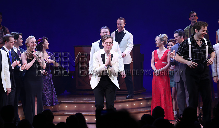 James Nathan Hopkins and cast during the Broadway Opening Night Curtain Call Bows of 'Bandstand' at the Bernard B. Jacobs Theatre on 4/26/2017 in New York City.