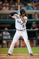 Lakeland Flying Tigers Derek Hill (18) at bat during a game against the Tampa Tarpons on April 5, 2018 at Publix Field at Joker Marchant Stadium in Lakeland, Florida.  Tampa defeated Lakeland 4-2.  (Mike Janes/Four Seam Images)