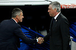 Real Madrid´s coach Carlo Ancelotti and Levante´s coach Lucas Alcaraz before La Liga match at Santiago Bernabeu stadium in Madrid, Spain. March 15, 2015. (ALTERPHOTOS/Victor Blanco)