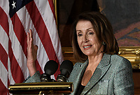 Speaker of the United States House of Representatives Nancy Pelosi (Democrat of California) speaks during the Friends of Ireland luncheon with Leo Varadkar, Ireland's prime minister at the U.S. Capitol in Washington, D.C., U.S., on Thursday, March 14, 2019. <br /> Credit: Olivier Douliery / Pool via CNP/AdMedia