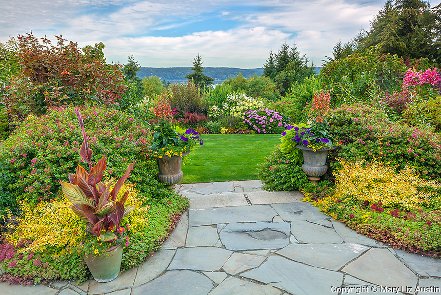 Vashon-Maury Island, WA: Terraced perennial garden with flagstone patio