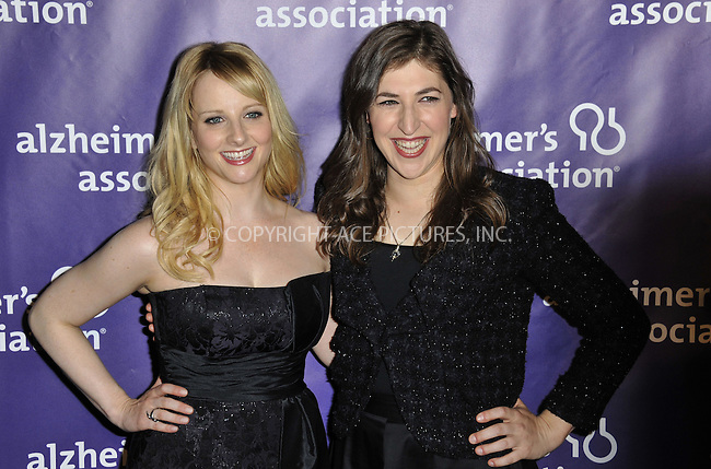 WWW.ACEPIXS.COM....March 20 2013, LA......Melissa Rauch and Mayim Bialik (R) arriving at the 21st Annual 'A Night At Sardi's' to benefit the Alzheimer's Association at The Beverly Hilton Hotel on March 20, 2013 in Beverly Hills, California.....By Line: Peter West/ACE Pictures......ACE Pictures, Inc...tel: 646 769 0430..Email: info@acepixs.com..www.acepixs.com