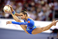 September 27, 2003, Budapest, Hungary (UPI) -- Rhythmic gymnastic star IRINA TCHACHINA of Russia leaps with ball to win Bronze medal in All-Around at 2003 Rhythmic Gymnastics World Championships.