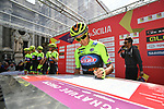 Neri Sottoli–Selle Italia–KTM team at sign on before the start of Stage 1 of Il Giro di Sicilia running 165km from Catania to Milazzo, Italy. 3rd April 2019.<br /> Picture: LaPresse/Massimo Paolone | Cyclefile<br /> <br /> <br /> All photos usage must carry mandatory copyright credit (© Cyclefile | LaPresse/Massimo Paolone)