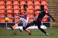 Blackpool's Curtis Tilt competes with Walsall's Amadou Bakayoko<br /> <br /> Photographer Richard Martin-Roberts/CameraSport<br /> <br /> The EFL Sky Bet League One - Blackpool v Walsall - Saturday 10th February 2018 - Bloomfield Road - Blackpool<br /> <br /> World Copyright &not;&copy; 2018 CameraSport. All rights reserved. 43 Linden Ave. Countesthorpe. Leicester. England. LE8 5PG - Tel: +44 (0) 116 277 4147 - admin@camerasport.com - www.camerasport.com