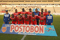 TUNJA - COLOMBIA -13 -03-2014: Los jugador de Patriotas FC, posan para una foto durante partido por la fecha 12 de la Liga Postobon I-2014, jugado en el estadio La Independencia de la ciudad de Tunja. / The players of Patriotas FC, pose for a photo during a match for the date 12th of the Liga Postobon I-2014 at the La Independencia  stadium in Tunja city, Photo: VizzorImage  / Jose M. Palencia / Str. (Best quality available)