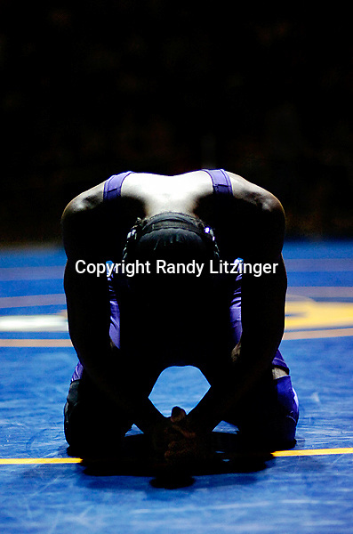 Menchville's George Sheppard prepares himself before his 160 lb. State Championship match against Great Bridge's Willy Mello.  Sheppard won 5-3 to win the State Title at the Virginia AAA State Wrestling Championships Saturday 2-24-07 at Robinson H. S. in Fairfax, VA.