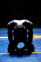 Menchville's George Sheppard prays before his 160 lb. State Championship match against Great Bridge's Willy Mello.  Sheppard won 5-3 to win the State Title at the Virginia AAA State Wrestling Championships Saturday 2-24-07 at Robinson H. S. in Fairfax, VA.