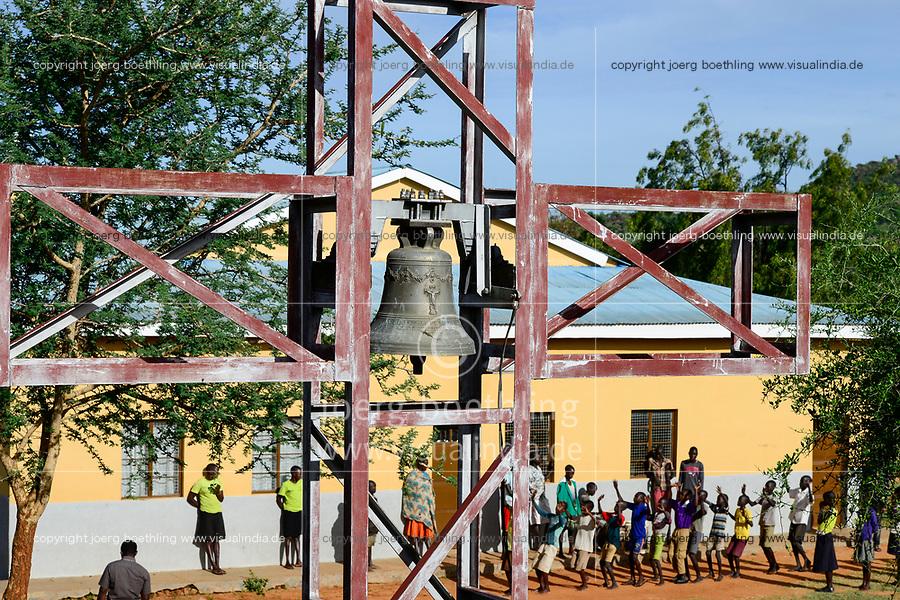UGANDA, Karamoja, Karamojong pastoral tribe, Loyoro Parish, mission station and church with bell tower