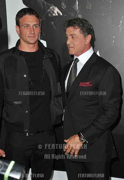 "Sylvester Stallone & Olympic gold-medalist Ryan Lochte at the Los Angeles premiere of his movie ""The Expendables 2"" at Grauman's Chinese Theatre, Hollywood..August 16, 2012  Los Angeles, CA.Picture: Paul Smith / Featureflash"