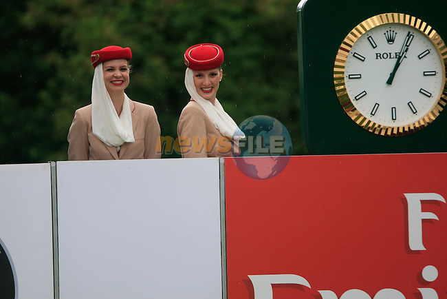 The Emirates girls on the 1st tee during of Day 3 of the BMW International Open at Golf Club Munchen Eichenried, Germany, 25th June 2011 (Photo Eoin Clarke/www.golffile.ie)