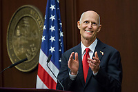 TALLAHASSEE, FLA. 3/7/17-Gov. Rick Scott applauds guests in the gallery during a section of his State of the State address during the opening day of the legislative session at the Capitol in Tallahassee.<br /> <br /> COLIN HACKLEY PHOTO