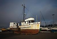 Old Commercial Fishing Boat, Repair Shipyard, Port of Astoria, Oregon, America, USA.