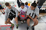 Ambrose Curtis (L), Beaudein Waaka, Rieko Ioane. London Eye. 13 May 2015. England. Photo: Marc Weakley
