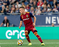 FOXBOROUGH, MA - SEPTEMBER 21: Corey Baird #17 of Real Salt Lake dribbles during a game between Real Salt Lake and New England Revolution at Gillette Stadium on September 21, 2019 in Foxborough, Massachusetts.