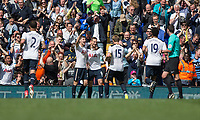 Vincent Janssen of Tottenham Hotspur (centre) celebrates scoring his side's fourth goal during the Premier League match between Tottenham Hotspur and Bournemouth at White Hart Lane, London, England on 15 April 2017. Photo by Mark  Hawkins / PRiME Media Images.