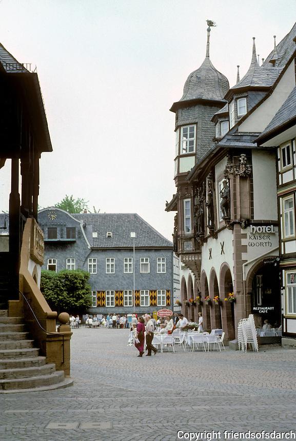 Goslar: To left, Loggia of Town Hall; to right, Kaiserworth. Photo '87.