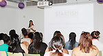 Soledad O'Brien mentors scholars as they see the perfume business from sent, packaging, making - The Soledad O'Brien & Brad Raymond Starfish Foundation scholars from all over the country gathered in New York City, New York on July 25, 2014 at the Sensorium, Firmenich International Fine Fragrance where four mentors talked to the students - they were presented with their own fragrance. (Photo by Sue Coflin/Max Photos)
