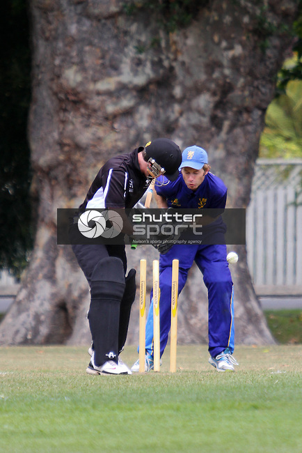 Not a good leave. One day cricket, ACOB v Motueka, 2 March 2013, Botanics, Nelson, New Zealand<br /> Photo: Marc Palmano/shuttersport.co.nz