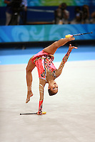August 22, 2008; Beijing, China; Rhythmic gymnasts  Aliya Garaeva of Azerbaijan re-catches clubs during qualifying round on way to eventually placing 6th in the AA final at 2008 Beijing Olympics.
