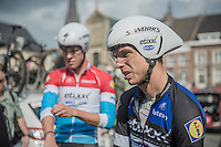 Tony Martin (DEU/Etixx-QuickStep) & Bob Jungels (LUX/Etixx-QuickStep) during the TTT parcours breefing<br /> <br /> 12th Eneco Tour 2016 (UCI World Tour)<br /> stage 5 (TTT) Sittard-Sittard (20.9km) / The Netherlands