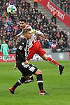 14.01.2018, RheinEnergieStadion, Koeln, GER, 1.FBL., 1. FC K&ouml;ln vs. Borussia M&ouml;nchengladbach<br /> <br /> im Bild / picture shows: <br /> Kopfball durch Jonas Hector (FC K&ouml;ln #14),  gegen Nico Elvedi (Gladbach #30),  <br /> <br /> <br /> Foto &copy; nordphoto / Meuter
