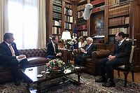 Pictured: Ban Ki-Moon (2nd L) meets Greek President Prokopis Pavlopoulos (3rd L) in Athens, Greece. Friday 17 June 2016<br /> Re: The United Nations secretary-general is visiting Greece, ahead of talks with government officials and a trip to the island of Lesbos, which is at the forefront of Greece's immigration crisis.<br /> Ban Ki-moon met with officials and volunteers at the Solidarity Now group, which helps victims of Greece's financial crisis and migrants stuck in the country.<br /> He has also visited Greek President Procopis Pavlopoulos before travelling camps on Lesbos island where 3,400 refugees and other migrants live.