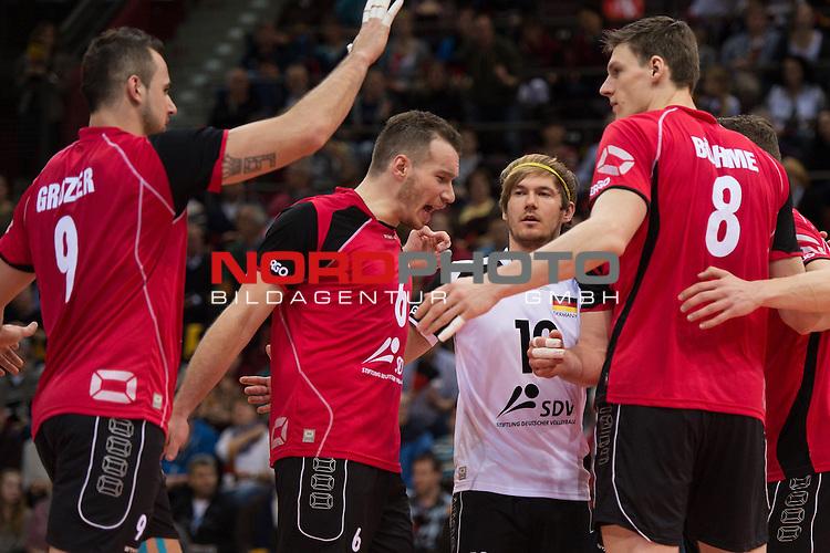 03.01.2014, MHP Arena, Ludwigsburg<br /> Volleyball, Qualifikation WM 2014, Deutschland vs. Kroatien<br /> <br /> Jubel Georg / Gy&ouml;rgy / Gyoergy Grozer (#9 GER), Denis Kaliberda (#6 GER), Ferdinand Tille (#12 GER), Marcus B&ouml;hme / Boehme (#8 GER)<br /> <br />   Foto &copy; nordphoto / Kurth