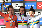 Gold medal and World Champions Jersey for Annemiek Van Vleuten (NED), silver medal for Anna Van Der Breggan (NED) and bronze for Amanda Spratt (AUS) on the podium of the Women Elite Road Race of the UCI World Championships 2019 running 149.4km from Bradford to Harrogate, England. 28th September 2019.<br /> Picture: Eoin Clarke | Cyclefile<br /> <br /> All photos usage must carry mandatory copyright credit (© Cyclefile | Eoin Clarke)