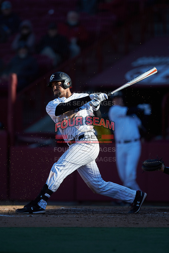Noah Campbell (14) of the South Carolina Gamecocks follows through on his swing against the Holy Cross Crusaders at Founders Park on February 15, 2020 in Columbia, South Carolina. The Gamecocks defeated the Crusaders 9-4.  (Brian Westerholt/Four Seam Images)