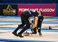 Glasgow. SCOTLAND.   Scotland, &quot;Sweeping&quot;,  &quot;Round Robin&quot; Game. Le Gruy&egrave;re European Curling Championships. 2016 Venue, Braehead  Scotland<br /> Tuesday  22/11/2016<br /> <br /> [Mandatory Credit; Peter Spurrier/Intersport-images]