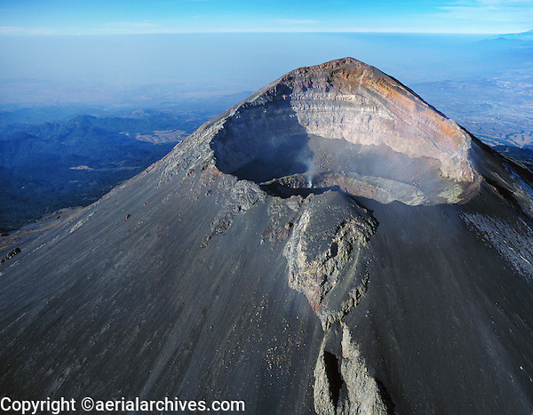 aerial photograph of the Popocateplt volcano east of Mexico City located in the States of Puebla 43 miles southeast of Mexico City, Mexico