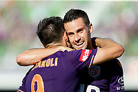 11th January 2020; HBF Park, Perth, Western Australia, Australia; A League Football, Perth Glory versus Adelaide United; Joel Chianese of the Perth Glory celebrates with Bruno Fornaroli Mezza after he scored to put the Glory up 2-0 - Editorial Use
