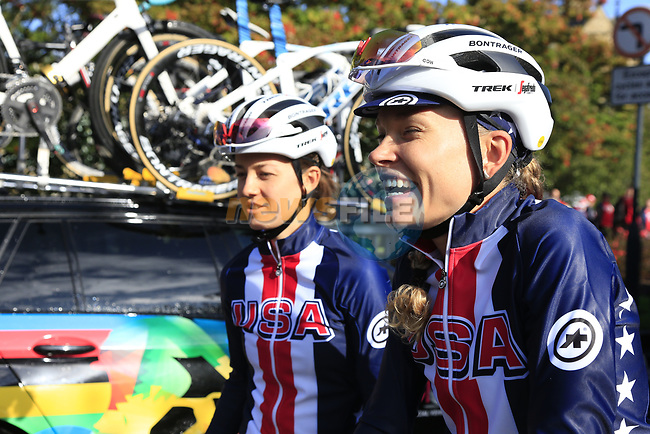 US Champion Ruth Winder and Tayler Wiles (USA) at sign on for the start of the Women Elite Road Race of the UCI World Championships 2019 running 149.4km from Bradford to Harrogate, England. 28th September 2019.<br /> Picture: Eoin Clarke | Cyclefile<br /> <br /> All photos usage must carry mandatory copyright credit (© Cyclefile | Eoin Clarke)
