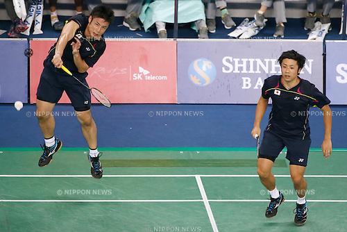 (L to R) Kenichi Hayakawa,  Hiroyuki Endo (JPN), <br /> SEPTEMBER 21, 2014 - Badminton : <br /> Men's Team Round 2 <br /> at Gyeyang Gymnasium <br /> during the 2014 Incheon Asian Games in Incheon, South Korea. <br /> (Photo by AFLO SPORT) [1180]