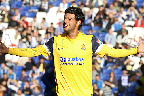 7.04.2012 Cornella, Spain. La liga. Picture shows Vela after scoring during match beetwen RCD Espanyol against Real Sociedad at Cornella Stadium