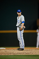 Dunedin Blue Jays relief pitcher Nick Hartman (14) looks in for the sign during a game against the Bradenton Marauders on May 2, 2018 at LECOM Park in Bradenton, Florida.  Bradenton defeated Dunedin 6-3.  (Mike Janes/Four Seam Images)
