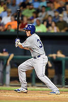 Chattanooga Lookouts outfielder Bobby Coyle (34) at bat during game three of the Southern League Championship Series against the Jacksonville Suns on September 12, 2014 at Bragan Field in Jacksonville, Florida.  Jacksonville defeated Chattanooga 6-1 to sweep three games to none.  (Mike Janes/Four Seam Images)