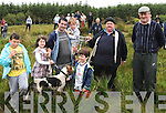HUNT WINNER: Dan O'Connor, Valentia, accepting the Horgan Cup from Dan Lynch (secretary of Kenmare Harriers Hunt Club) after he won the 94th annual Drag Hunt in Kenmare on Sunday, also pictured are Dan's children Aidan, Kevin, Emma and Chris, their winning dog 'Get Smart', and Dan McCarthy from Kenmare.