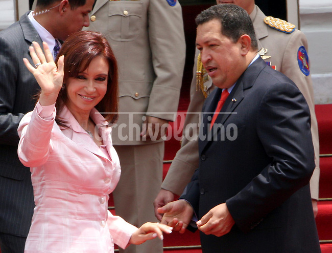 Presidents of Argentina, Cristina Kirchner, visited President of Venezuela  Hugo Chavez at Caracas Miraflores Palace  to sign some bilateral agreements and support Chavez position against Colombia army operation in the jungle of North Ecuador, where they killed a FARC guerrilla leader last Saturday, March 1,, 2008.