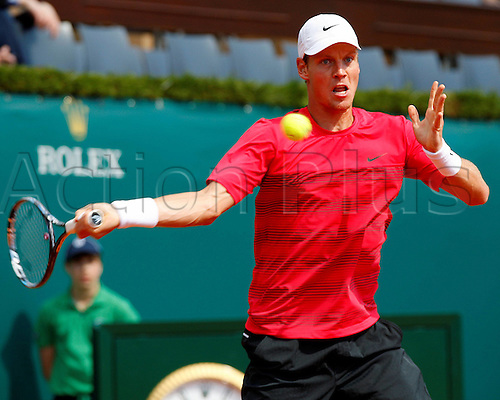 20.04.2012. Monte Carlo, Monaco.    Tomas Berdych CZE in Action Against Andy Murray GBR during The Quarter Final of The 2012 Monte Carlo Rolex Masters played AT The Monte Carlo Country Club Monaco 2012