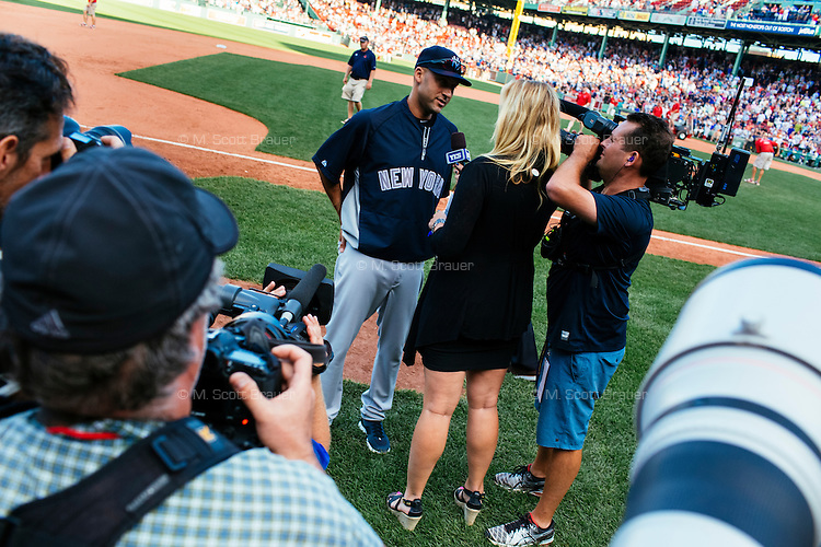BOSTON, MASS. - SEPT. 28, 2014: Derek Jeter speaks to the media after the New York Yankees and Boston Red Sox played at Fenway Park. The game is last game of Derek Jeter's career. M. Scott Brauer for The New York Times