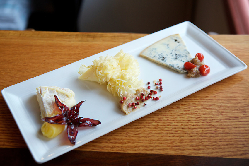 Jersey City, NJ - January 14, 2016: A cheese plate at Third and Vine, a Cheese and Wine Tavern in the Historic Downtown District. CREDIT: Clay Williams for Edible Jersey.<br /> <br /> <br /> &copy; Clay Williams / claywilliamsphoto.com