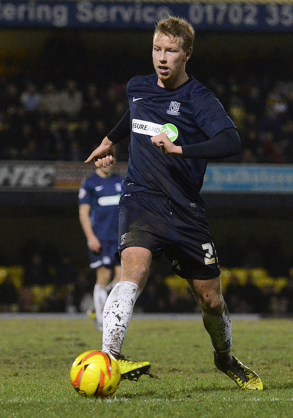 Southend United's Adam Thompson in action during todays match  <br /> <br /> Photo by Kevin Barnes/CameraSport<br /> <br /> Football - The Football League Sky Bet League Two - Southend United v Newport County - Friday 31st January 2014 - Roots Hall - Southend<br /> <br /> &copy; CameraSport - 43 Linden Ave. Countesthorpe. Leicester. England. LE8 5PG - Tel: +44 (0) 116 277 4147 - admin@camerasport.com - www.camerasport.com