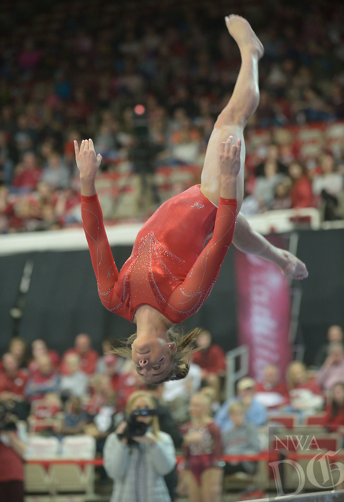 NWA Democrat-Gazette/ANDY SHUPE<br /> Arkansas' Kailey Gillings competes in the beam Saturday, Jan. 5, 2019, during the Razorbacks' meet with No. 2 Oklahoma in Barnhill Arena in Fayetteville. Visit nwadg.com/photos to see more photographs from the meet.