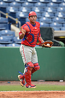 Philadelphia Phillies catcher Gregori Rivero (6) during an Instructional League game against the New York Yankees on September 23, 2014 at the Bright House Field in Clearwater, Florida.  (Mike Janes/Four Seam Images)