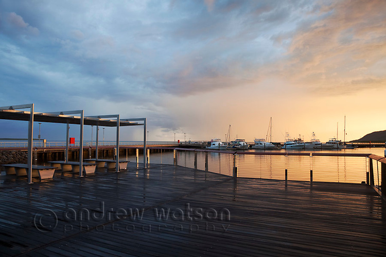 Viewing deck at Marina Point at dawn.  Cairns, Queensland, Australia