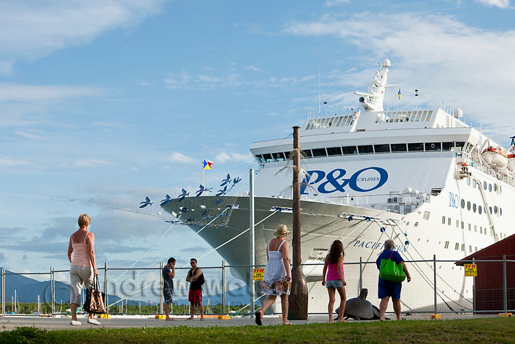 Cruise ship moored at the Cairns Cruise Liner Terminal.  Trinity Wharf, Cairns, Queensland, Australia